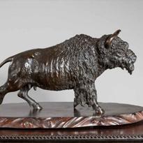 Meiji period bronze buffalo on its original rootwood stand