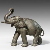 Meiji period bronze elephant, signed
