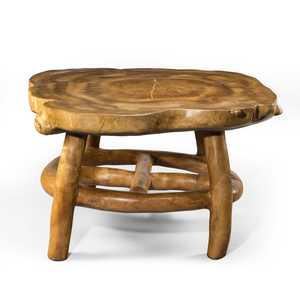 A Maxie Lane elm table, carved out of the solid, c 1970