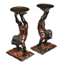A pair of Venetian side tables, painted walnut, c1870. Ht 31in