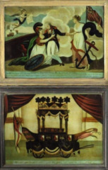 Two reverse glass paintings of Nelson's death and funeral. C1805