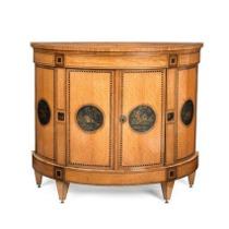 A Dutch demi-lune side cabinet. c1850
