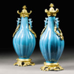 A pair of Chinese vases, 18th C with 19th C mounts