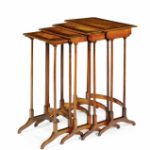 A nest of four Sheriton tables in satinwood and partridge wood. C1800