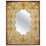 Embroidered Silk and Gold Thread Mirror Worked by Lady Margaret ED Campbell
