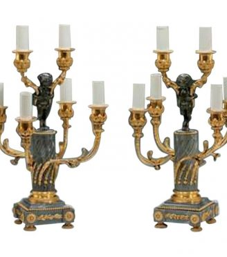 Pair of Napoleon III Six-Light Candelabra