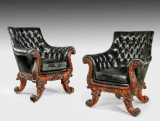 A large pair of rosewood library chairs attributed to Gillows. Circa 1830