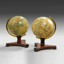A rare pair of 6½ inch table globes by Bale and Woodward, c1850