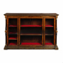 An early Victorian exhibition quality gilt brass mounted amboyna and walnut bookcase, c1850