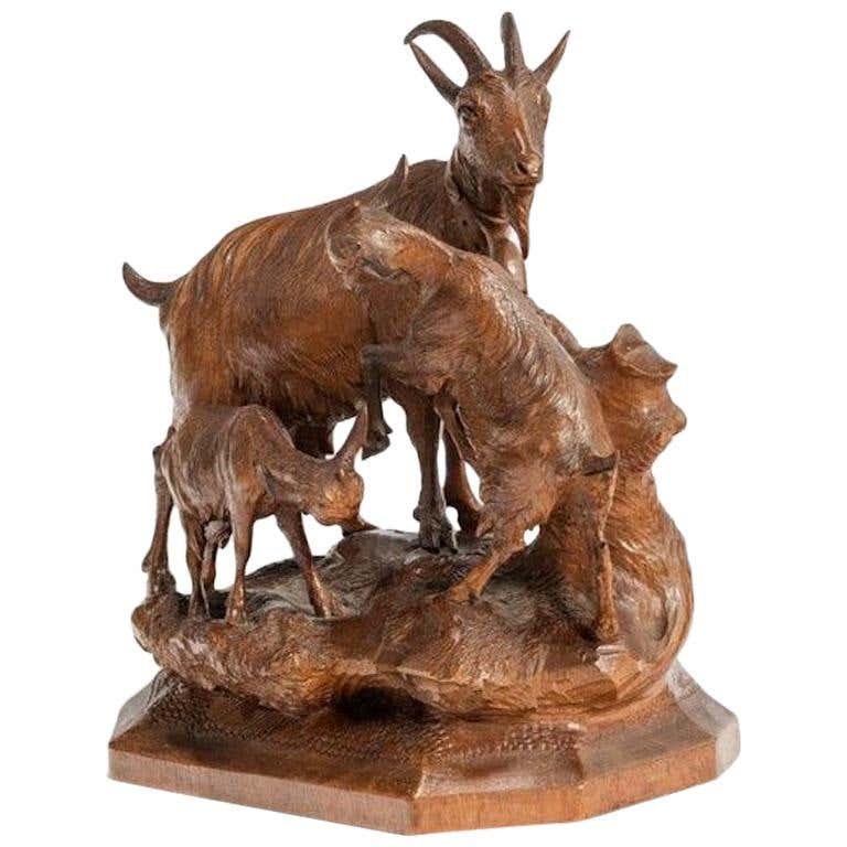 A Black Forest Wood Carving Of A Mountain Goat Wick Antiques