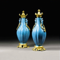 A pair of 18th century Chinese vases, with 19th century mounts, c1880