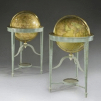 """A pair of 21"""" contemporary library floor-standing globes with original late 18th century Carys gores set in shagreen tripod stand, c2012 -"""