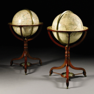 """A pair of Cary's 21"""" terrestrial and celestial library globes, c1799."""