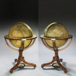 A rare pair of Globes by Newton, c1825. -