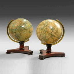 A rare pair of 6½ inch table globes by Bale and Woodward, c1850.