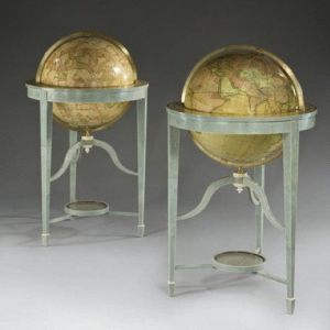 """A pair of 21"""" contemporary library floor-standing globes, with original late 18th century Carys gores set in shagreen tripod stand, c2012. -"""
