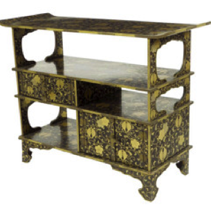 A Japanese black lacquer side table, c1890.