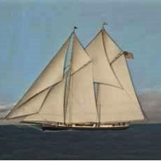 Unusual oil and raised silk depiction of the America's Cup Yacht 'Magic', c1875. -