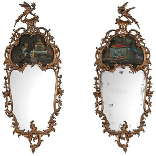 Pair of exceptional giltwood English Chinese Chippendale period mirrors, c1790. -
