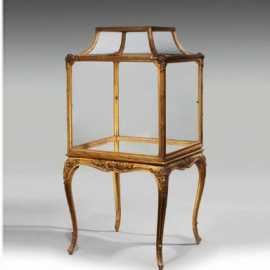 Giltwood free standing Napoleon lll square display cabinet, c1850. -