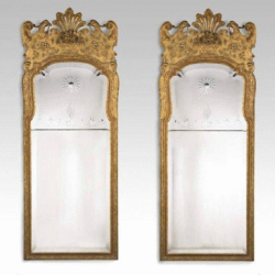 Pair of George l style victorian giltwood mirrors, c1890.