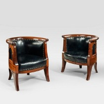A pair of French mahogany and mother of pearl Klismos chairs. c1890