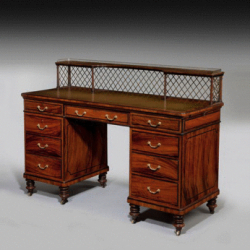 A fine quality Victorian pedestal desk in olive wood, c1865
