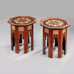 Pair of early 20th century walnut and mother of pearl Damascene tables, c1900.