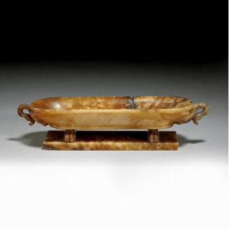 An alabaster Grand Tour pen tray in the form of a classical bath. c1840.