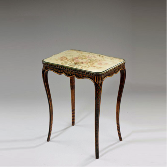 An unusual French side table with original painted decoration. c1880.