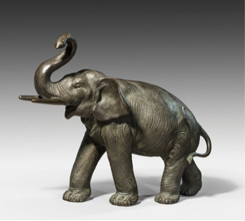 Meiji period bronze elephant, signed, c1880.