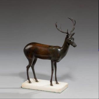An English bronze of a deer, c1860.