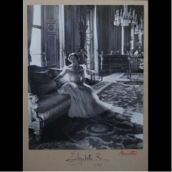 A photograph of the Queen Mother by Cecil Beaton. Signed 1939.
