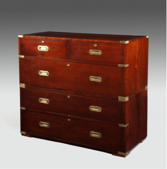An early Victorian mahogany military chest. c1850