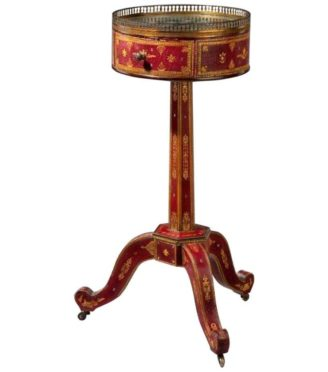 Tooled-Leather Lamp Table French, circa 1825