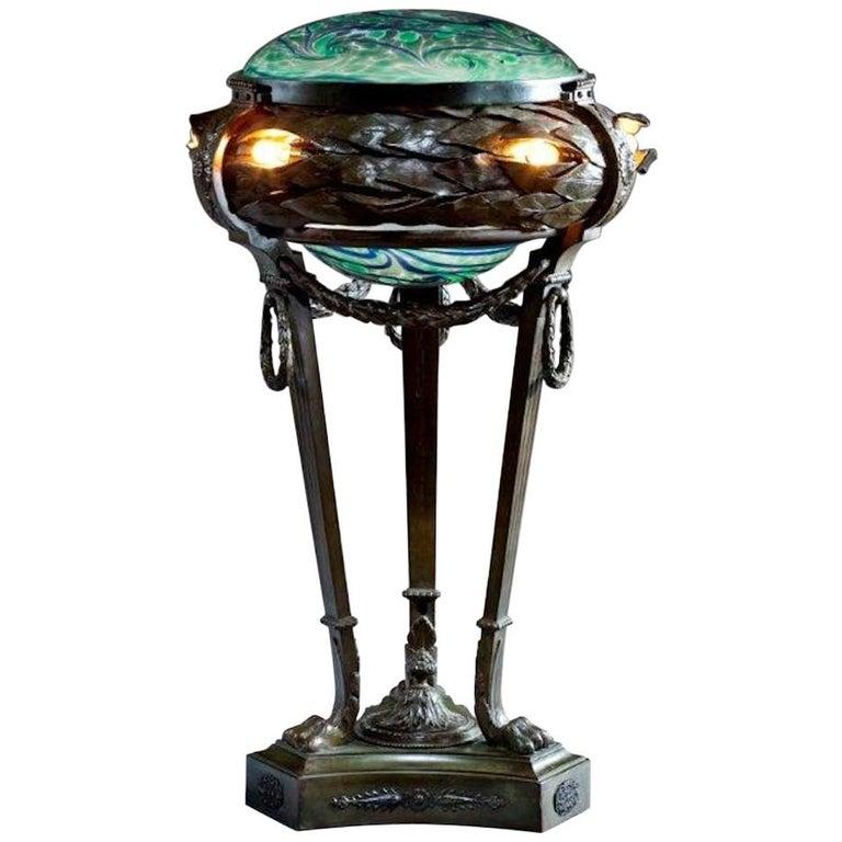 American Art Nouveau Lamp, circa 1920