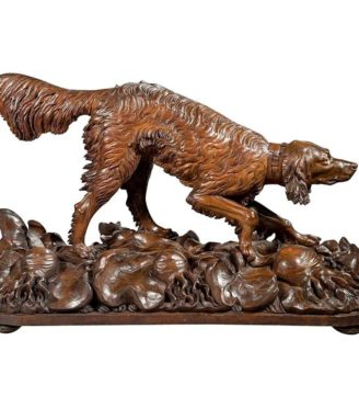 Life-Size Black Forest Carved Wood Dog Setter