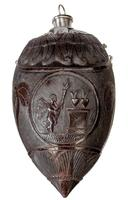 Three coconut 'bugbear' powder flasks from a collection, variously depicting Napoleon and his armies, guildsmen from Les Compagnons Passants Charpentiers and 'mourning'. back facing