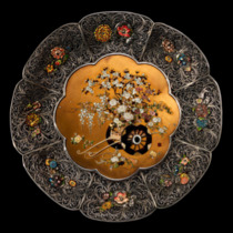 One of a superb pair of shibayama dishes with flower arrangements Japanese, c1880.