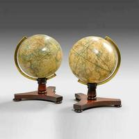 An attractive pair of Bale and Woodward mahogany table globes. 1845