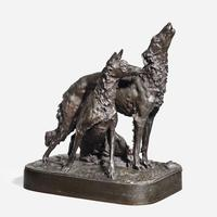 A pair of bronze hounds by Mark Thomas, French, c1880.