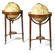 "A pair of Regency 18"" floor standing globes by W & T M Bardin, c1800"