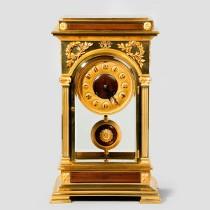An unusual four glass ormolu mantle clock by Blanpain. c1890