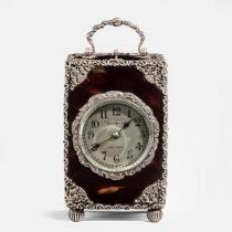 A silver mounted Tiffany 8- day carriage clock. Circa 1920