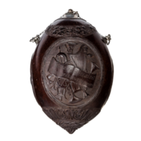 Three coconut 'bugbear' powder flasks from a collection, variously depicting Napoleon and his armies, guildsmen from Les Compagnons Passants Charpentiers and 'mourning'.
