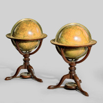 """A pair of late George III 12"""" library table globes by J and W Cary. C1800"""
