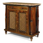 A Regency brass inlaid Gonzalo alves and ebonised side cabinet, c1820