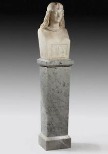 A marble bust by Adams Acton Entitled 'Pharaoh's Daughter', signed, dated 1863