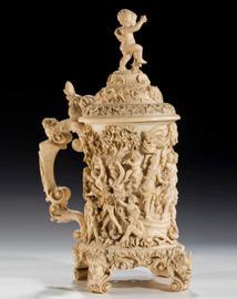 A German ivory tankard, with Pluto, Hera Aphrodite and Athena 19thC Ht