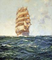 A superb Montague Dawson oil painting 'Deep Seas' showing the Abraham Rydberg